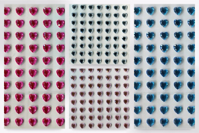 Stick-On Self Adhesive Diamante Hearts - per pack of 70 (PP1064-Clear-M)