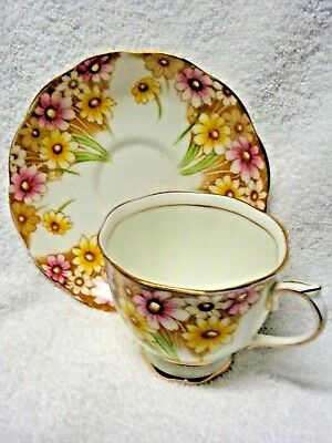 Royal Albert Maryland Daisy Brown And Pink Flowers Cup and Saucer