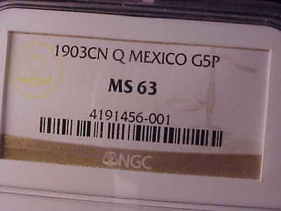 MEXICO GOLD 5 PESOS 1903 Cn Q NGC MS 63