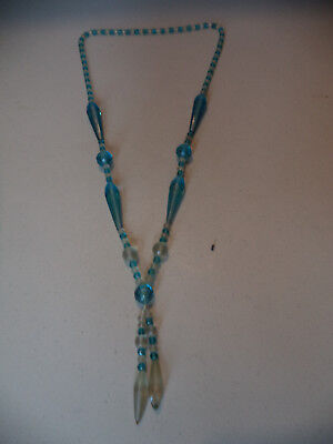 Vintage Art Deco Czech Faceted Blue Prism Frosted Glass Beaded Dangle Necklace!