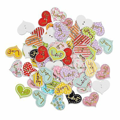 50 Pcs Lots Wood Heart Buttons 2 holes Sewing Scarpbook embellishment Craft