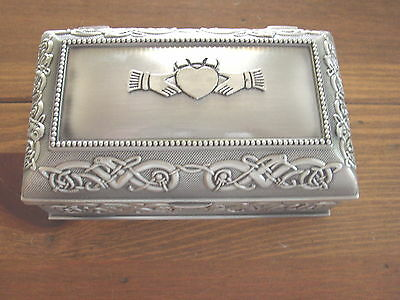 Claddagh Jewelry Box, Mullingar Pewter, medium, Made in Ireland