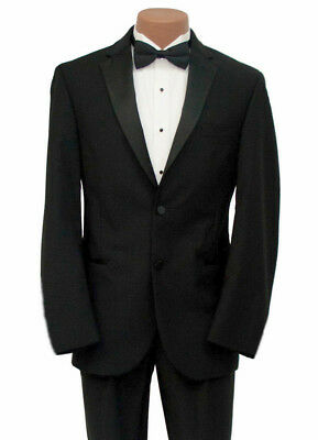 Formal Black Lisbon 2 Button Notch Wool Tuxedo Jacket with Flat Front Pants