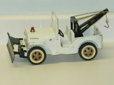 Vintage Tonka Jeep Wrecker With Plow Truck, Pressed Steel Toy Vehicle