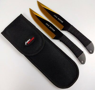 "2pc Gold & Black 9"" Jack Ripper Throwing Knife Set w/ Sheath Dagger Kunai"