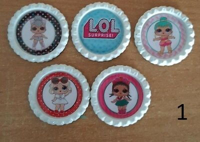 5 x LOL Surprise Dolls White Flattened Bottle Caps - Great for Necklaces, Bow