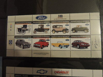 56 different VINTAGE CARS on Stamps FORD, CHEVROLET, etc, mint, never hinged
