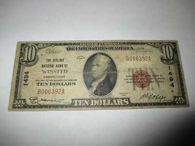$10 1929 Winsted Connecticut CT National Currency Bank Note Bill! #1494 FINE