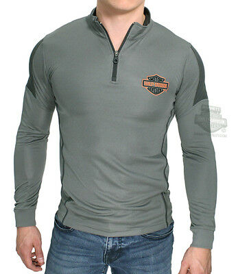 Harley-Davidson Mens B&S Mock Neck Perforated Synthetic 1/4-Zip Grey L/S T-Shirt