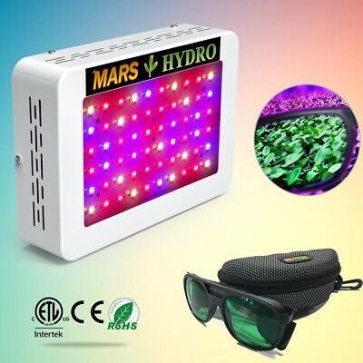 Mars 300W LED Grow Light Full Spectrum+ Glasses for Hydroponics Tent Home plants