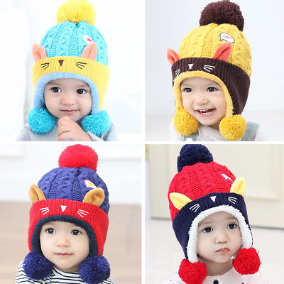 Baby Kids Outdoor Hairball Knitted Hat Warm Infants Beanie Caps Crochet Casual