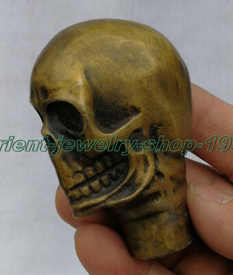 Old Bronze Hand Carved Dog Bitten skull Statue Cane Walking Stick Head