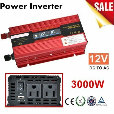 3000W WATT Peak Car LED Power Inverter DC 12V to AC 110V Dual Converter LO