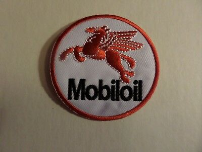 MOBIL OIL  white & RED Embroidered 3 x 3 Iron On Patch