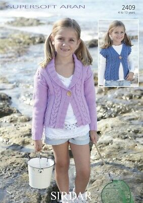 Sirdar Girls Jacket & Waistcoat Supersoft Knitting Pattern 2409  Aran (Si...