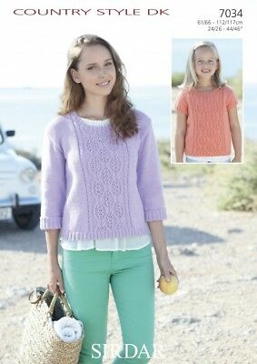 011ed8a642d35 Sirdar Ladies   Girls Sweaters Country Style Knitting Pattern 7034 DK ...