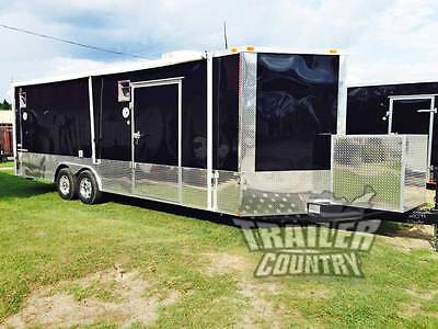 New 2018 8.5 X 24 V-Nose Enclosed Cargo Car Hauler Trailer Loaded Race Package 2