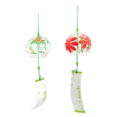 2x Japanese Glass Wind Chime Bell Hanging Ornament Gift Home Window Decor #8
