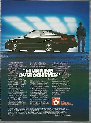 1985 DODGE DAYTONA TURBO Z advertisement, black Daytona, Dodge ad