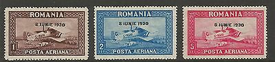 Romania 1930, Accession Of Carol Ii - Airmail (3) , S.g 1147-1149, Mlh*