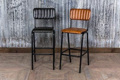 Vintage Style Ribbed Leather Stools Leather Breakfast Bar Stool Two Colours