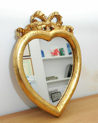Mirror Heart-Shaped Handcrafted Wooden Gold Colour Antique Artisan