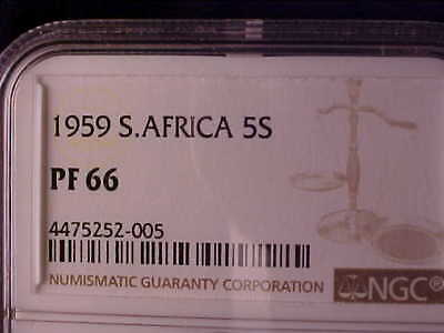 South Africa 5 Shillings 1959 Ngc Proof 66