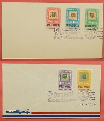 2 Fdc 1965 Dominican Republic Postage Stamp Centenary
