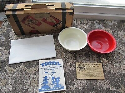 Vintage 1950's Dog Pet Travel Kit Suitcase Ken L Quaker Oats Company - Free Ship