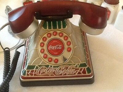 COCA-COLA Stained Glass Vintage Telephone  with push button dial