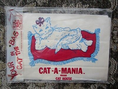 VINTAGE 1985 CAT-A-MANIA BRAND CAT HOUSE YOUR CAT IN THE BAG PET NOVELTY 1980's
