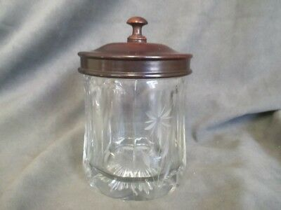 J1  Antique Cut Floral Design Glass Humidor & Wooden Lid