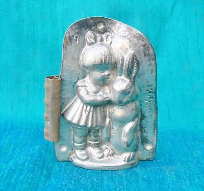 Adorable Vintage Girl with Easter Rabbit Chocolate Mold Anton Reiche 4 1/2 inch