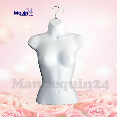 Female Torso Mannequin - White Women Hard Plastic Hanging Dress Form