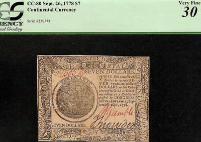 1778 $7 Seven Dollar Bill United States Continental Currency Note Money Pcgs Vf