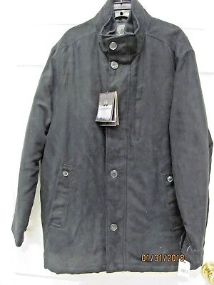 WEATHERPROOF Brand Black Micro Suede Jacket NWT Men's L Poly Lining Washable
