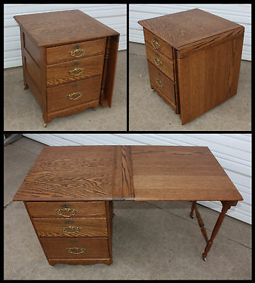 Oak Wood Larkin 3 Drawer Sewing Cabinet Table w Fold Down Leaf Support Legs &Key
