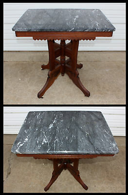 Antique Victorian Burl Walnut Wood Black & White Swirl Marble Lamp Accent Table