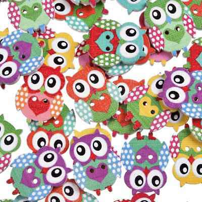 50pcs Wood Cute Owl Mixed Color Buttons Lots Craft 2-Holes Sew Cards Accessories