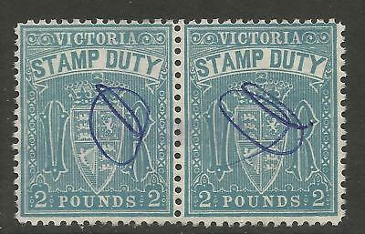 VICTORIA/STAMP DUTY , 1901 2 POUND BLUE x 2 PERF 11, PEN CANCEL