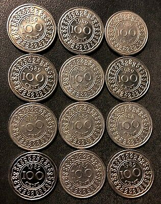 Old SURINAME Coin Lot - 16 VERY Low Mintage Coins - 100 CENT - FREE SHIPPING