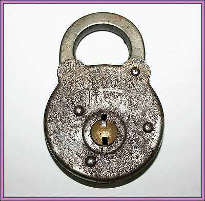 Vintage Antique Secure Lever Silver Tone Padlock Pad Lock Old Tool  No Key
