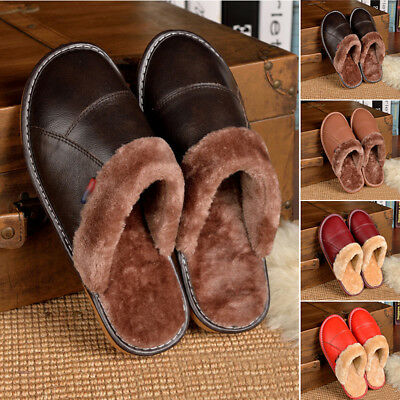 Luxury Leather Non-slip Slippers Women Men Fur Lined Home Indoor Slippers Shoes