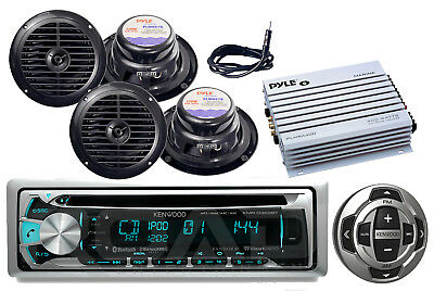 "6.5""Speakers,Antenna,Amplifier, Kenwood Boat Bluetooth CD USB Radio&Wired Remote"