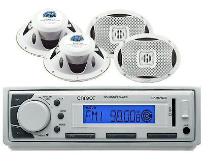 "Marine Enrock USB AM FM AUX Mp3 Receiver, 4 6x9"" 2Way 500W Marine Boat Speakers"