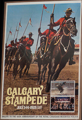RODEO POSTER - 1973 Calgary Stampede Rodeo - Genuine-Canada-NEW-PRCA