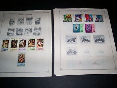 MALDIVE ISLANDS Lot of  90 + Stamps on Pages Some MNH Sets SG204-9 Value $$$