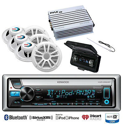 """6 Marine 6.5""""Speakers,Amplifier,Antenna,Cover,Kenwood Bluetooth iPod CD Receiver"""