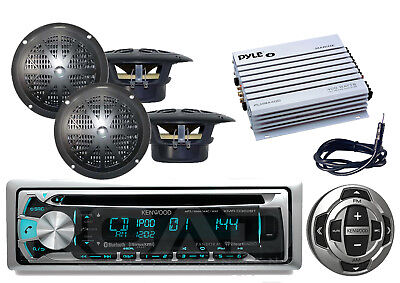 "Marine Bluetooth CD USB iPod Radio, Wired Remote,4"" Speakers,Amplifier & Antenna"