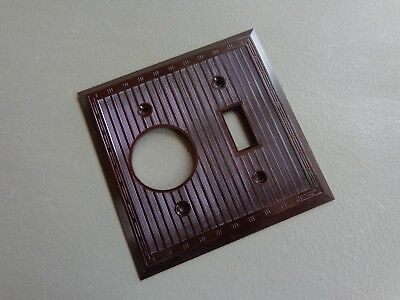 Vintage NOS Light Switch & Outlet Cover Plate Brown Bakelite Ribbed Design USA